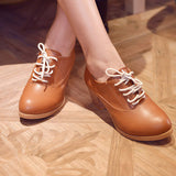 Lace Up PU Leather Round Toe Oxford Shoes