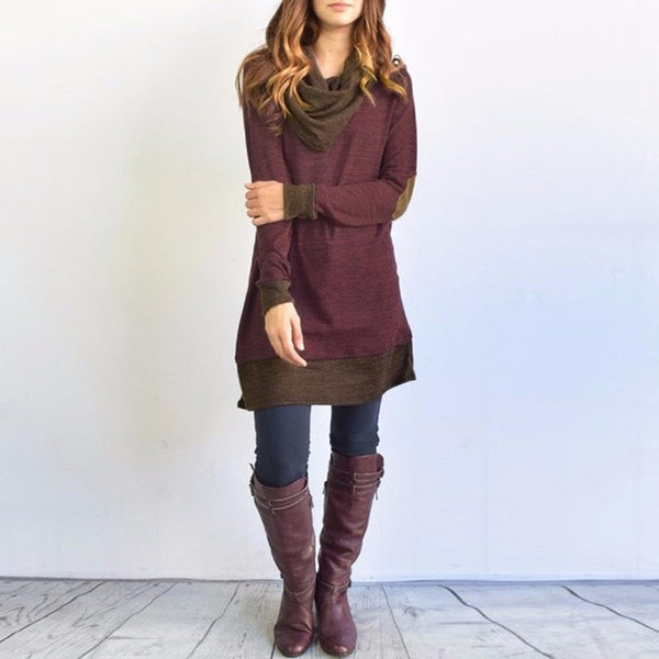 Pullover Long Sleeve Bow Collar Dress