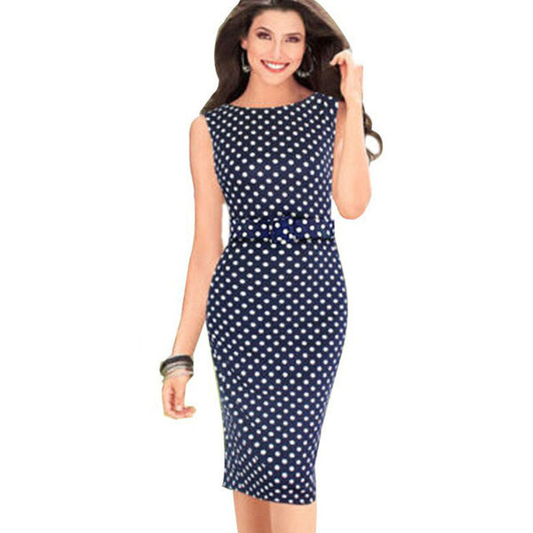 Polka Dot Sheath Fitted Bodycon Bandage Pencil Dress