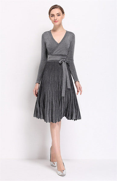 Pleated Sweater V Collar High Waist Lace Up Knitted Elastic Dress