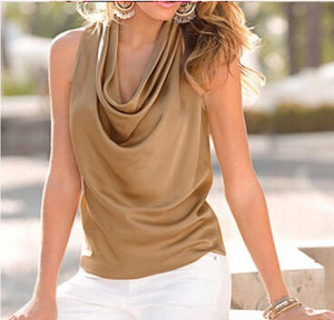 Sleeveless Pure Color Satin Tops