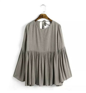Casual Pleated Backless O-Neck T-Shirt - J20Style - 5
