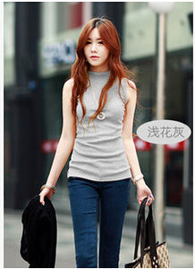 Summer Sleeveless Turtleneck Cotton T-Shirt - J20Style - 7