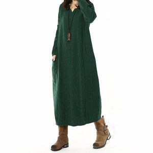 Cotton Linen Long Maxi Long Sleeve Casual Dress