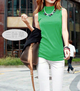 Summer Sleeveless Turtleneck Cotton T-Shirt - J20Style - 6