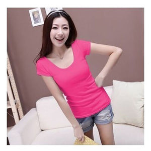 Slim Fit Cotton Short Sleeve Tops - J20Style - 8