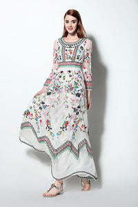 Classic Winter Retro Noble Floral Embroidery Long Dress