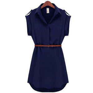 A-Line Cotton Casual OL Dress With Belt