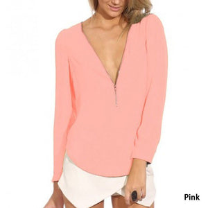 Summer V-Neck Sleeve Zipper Chiffon T-Shirt - J20Style - 10