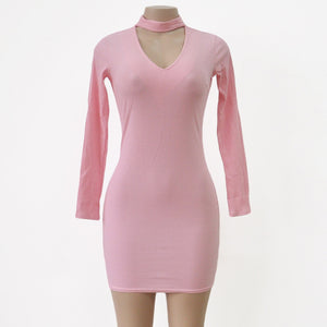 Long Sleeve Sexy Short Pencil Knitted Dress