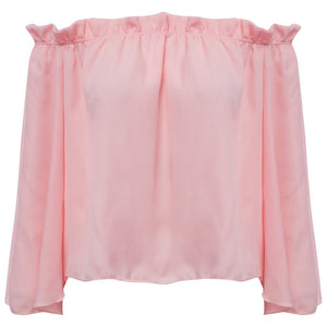 Summer Flare Sleeve Slash Blouse - J20Style - 8