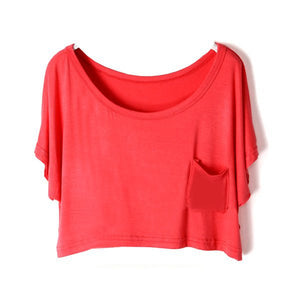 Summer Short Batwing Crop Loose Tops - J20Style - 15