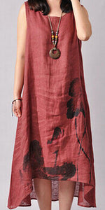 Sleeveless Linen Lotus Printing O-neck Dress