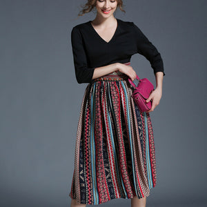 New Retro Big Swing Sexy V-neck Slim Office Party Chiffon Long Dress