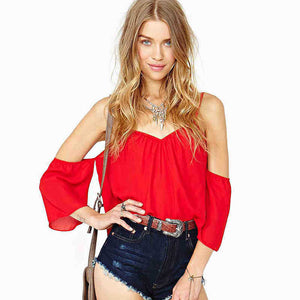 Summer Spaghetti Strap Backless Shirt - J20Style - 5