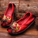 Cowhide Real Skin Shoes Folk Style Ladies Flat Shoes