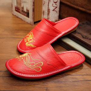 The Wedding Red Embroidery Lovers Slipper