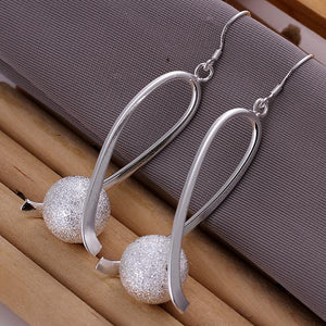 Spherical Beads Shape Silver Plated Dangle Earring