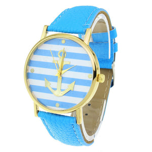 8 Colors New Fashion Leather strap Anchor GENEVA Watch