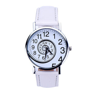 Swirl Pattern Leather Analog Quartz Wrist Watch