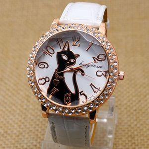 Lovely Black Crystal Cat Round Dial Quartz Watch