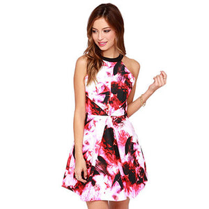 Red Ink Painting Print Cut Out Back Halter A-line Dress - J20Style - 7