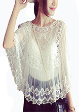 Summer Sheer Floral Embroidery Shirt - J20Style - 7