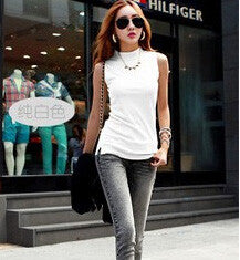 Summer Sleeveless Turtleneck Cotton T-Shirt - J20Style - 10