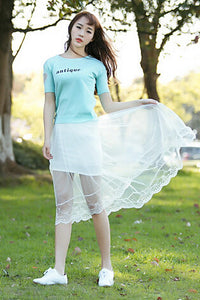 Summer Long Lace Section Jupe Tulle Skirt - J20Style - 8