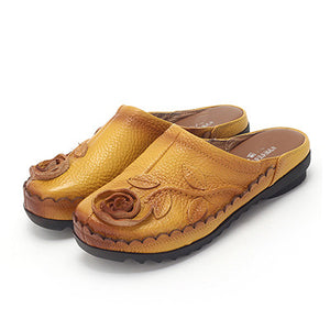 Ethnic Style Genuine Leather Handmade Flower Cow Flat