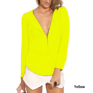 Summer V-Neck Sleeve Zipper Chiffon T-Shirt - J20Style - 12