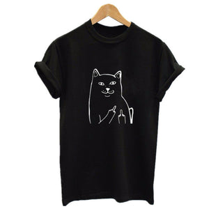 Middle Finger Funny Graphic Printed Cat T Shirt