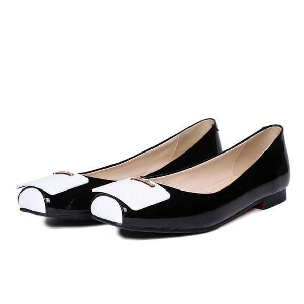 Plus Size Genuine Leather Square Toe Flat