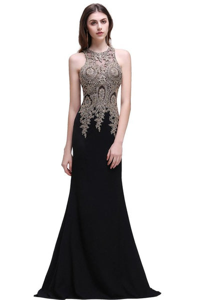 New Long Lace Mermaid Sexy Sheer Appliques Beaded Evening Party Dresses