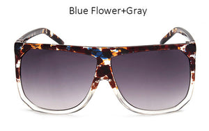 Big Frame Flat Top Clear Gradient Sunglasses
