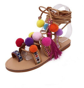 Ethnic Gladiator Embroidered Tassel Roman Strappy Sandal