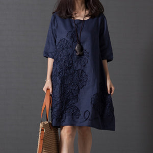O-Neck Loose Embroidered Linen Dress