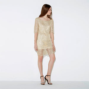 Golden Wave Cut Out Sequin Lace Dress