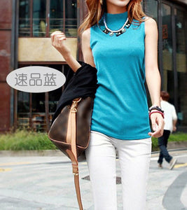 Summer Sleeveless Turtleneck Cotton T-Shirt - J20Style - 3