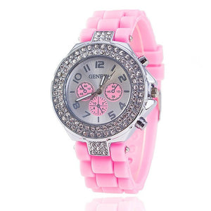 Fashion Jelly Silicone Rhinestone Geneva Watch