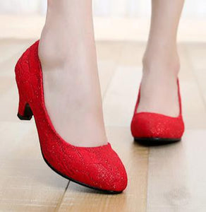 Crochet Lace Red Bridal Shoes - J20Style - 6