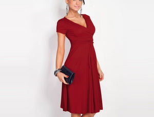 Women Sexy V-Neck Stretchy Short Sleeve Office Loose Dresses