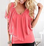 Summer Sleeveless Off The Shoulder Chiffon Tops - J20Style - 9