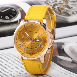 Leather Young Sports Women Gold Watch