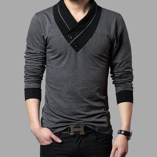 Mens T-shirt Long Sleeve available in 2 colors Black/ Gray