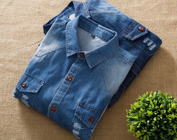 Men's denim shirt with long sleeves 2 colors