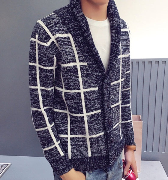 Cardigan Sweater Autumn/Winter/Spring Cashmer Striped available in 2 colors  Navy / Gray