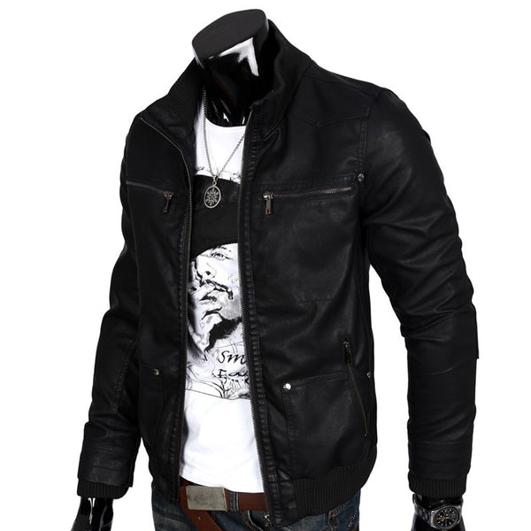 Men's Leather Jacket Hooded