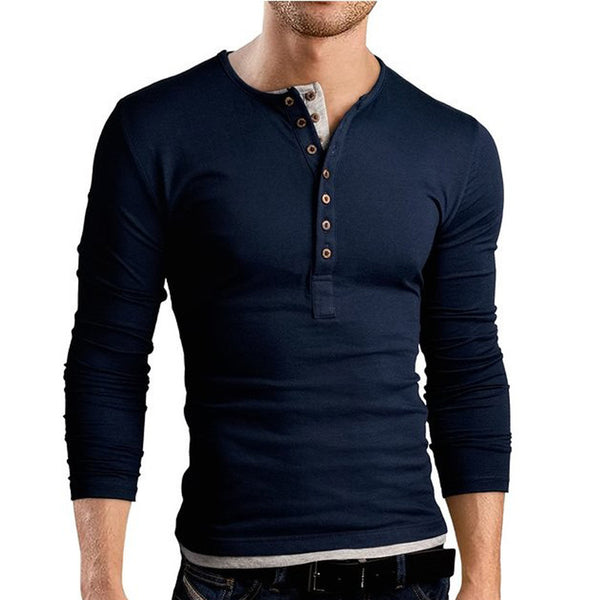 Long sleeve T-Shirt men V-neck available in 3 colors Black/Gray/Navy