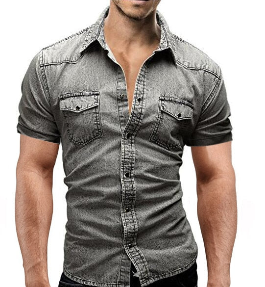 Men's denim short sleeve shirt 3 colors